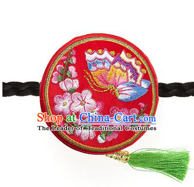 Traditional Korean Hair Accessories Embroidered Butterfly Red Hair Clasp, Asian Korean Fashion Headwear Headband for Kids