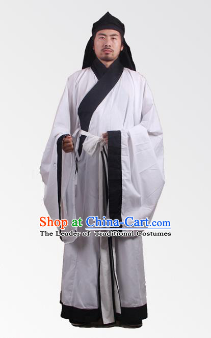Asian China Song Dynasty Minister Costume White Robe, Traditional Ancient Chinese Chancellor Hanfu Clothing for Men