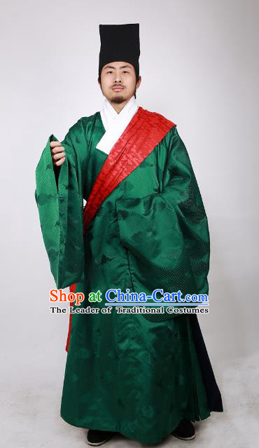 Asian China Ming Dynasty Minister Costume Green Brocade Robe, Traditional Ancient Chinese Chancellor Hanfu Clothing for Men
