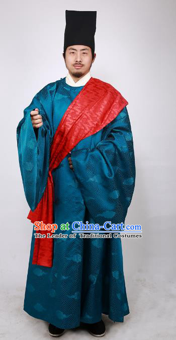 Asian China Ming Dynasty Minister Costume Blue Brocade Robe, Traditional Ancient Chinese Chancellor Hanfu Clothing for Men