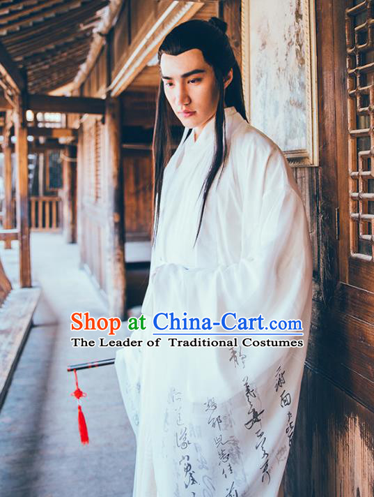 Asian China Tang Dynasty Swordsman Costume Complete Set, Traditional Ancient Chinese Chivalrous Expert Hanfu Clothing for Men