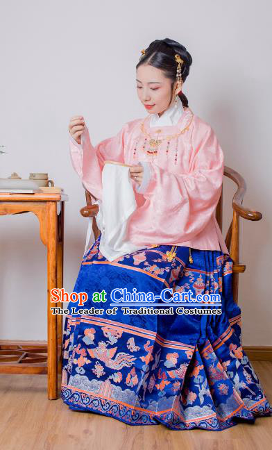 Asian China Ming Dynasty Princess Costume Pink Blouse, Traditional Ancient Chinese Palace Lady Embroidered Hanfu Clothing for Women