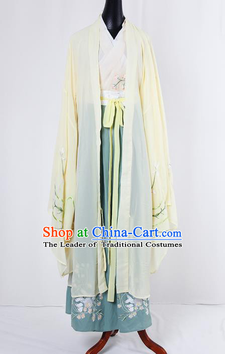 Asian China Tang Dynasty Princess Costume Yellow Wide Sleeve Cardigan, Traditional Ancient Chinese Palace Lady Embroidered Hanfu Clothing for Women
