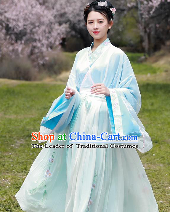 Asian China Tang Dynasty Princess Costume Complete Set, Traditional Ancient Chinese Young Lady Hanfu Embroidered Clothing for Women
