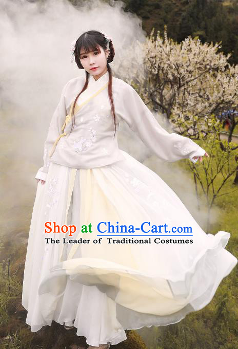 Asian China Ming Dynasty Princess Costume White Blouse and Skirt, Traditional Ancient Chinese Palace Lady Hanfu Embroidered Clothing for Women