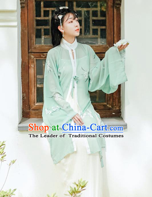 Asian China Ming Dynasty Princess Costume Green Long Blouse, Traditional Ancient Chinese Palace Lady Hanfu Embroidered Shirt Clothing for Women