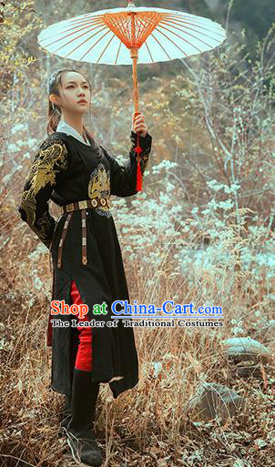 Asian China Ming Dynasty Costume Black Robe, Traditional Ancient Chinese Swordsman Hanfu Embroidered Clothing for Women