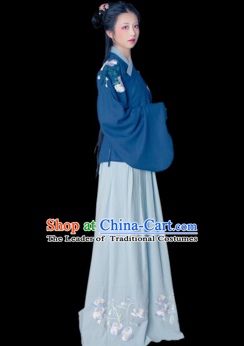 Asian China Ming Dynasty Princess Costume Embroidered Blouse and Skirt, Traditional Ancient Chinese Young Lady Hanfu Clothing for Women