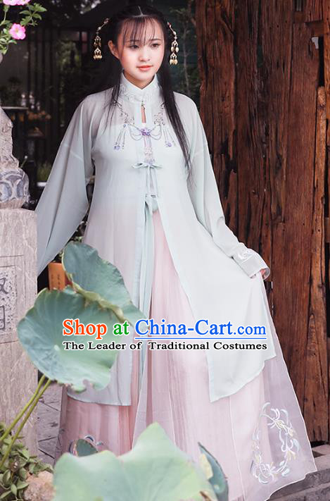 Asian China Ming Dynasty Young Lady Costume Blouse and Skirt, Traditional Ancient Chinese Princess Hanfu Embroidered Clothing for Women