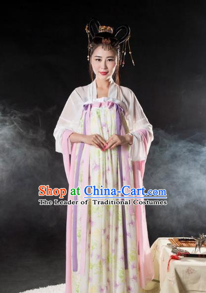 Asian China Tang Dynasty Imperial Consort Costume, Traditional Ancient Chinese Princess Hanfu Embroidered Clothing for Women
