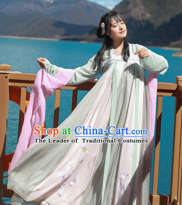 Asian China Tang Dynasty Palace Lady Costume, Traditional Ancient Chinese Princess Hanfu Embroidered Dress Clothing for Women