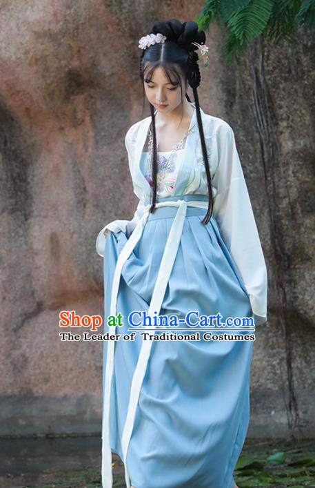 Asian China Ming Dynasty Young Lady Blue Costume Complete Set, Traditional Ancient Chinese Princess Hanfu Embroidered Clothing for Women