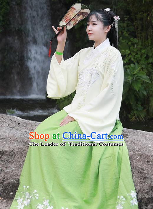 Asian China Ming Dynasty Young Lady Costume Complete Set, Traditional Ancient Chinese Princess Hanfu Embroidered Blouse and Skirt Clothing for Women