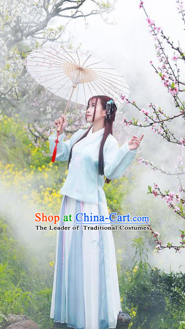 Asian China Ming Dynasty Young Lady Costume, Traditional Ancient Chinese Princess Hanfu Embroidered Blue Blouse and Skirt Clothing for Women