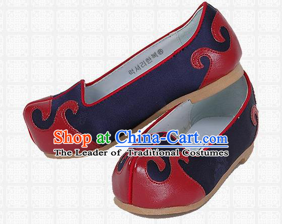 Traditional Korean National Embroidered Shoes, Asian Korean Hanbok Children Navy Shoes for Boys