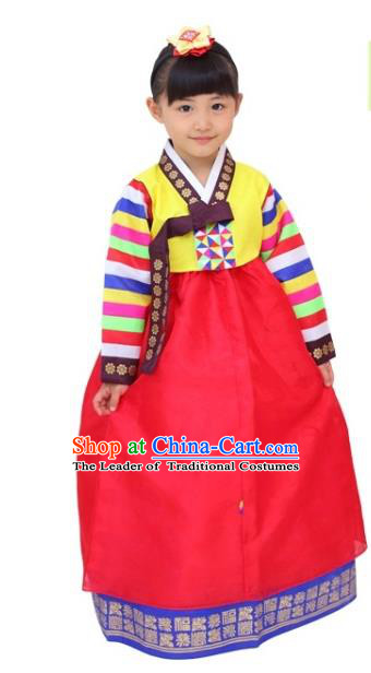 Traditional Korean Handmade Hanbok Embroidered Girls Clothing, Asian Korean Fashion Apparel Hanbok Embroidery Yellow Blouse Costume for Kids