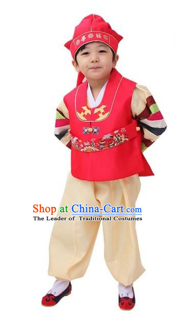 Traditional Korean Handmade Hanbok Embroidered Watermelon Red Clothing, Asian Korean Apparel Hanbok Embroidery Bridegroom Costume for Kids