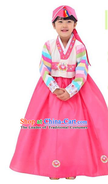 Traditional Korean National Girls Handmade Court Embroidered Clothing, Asian Korean Apparel Hanbok Embroidery Costume for Kids