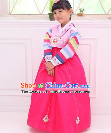 Traditional Korean National Girls Handmade Court Embroidered Clothing, Asian Korean Apparel Hanbok Embroidery Pink Dress Costume for Kids