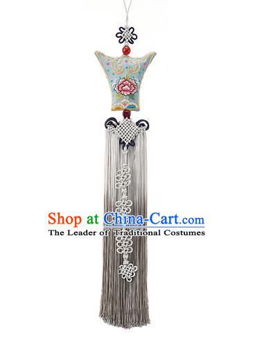 Traditional Korean Accessories Waist Pendant, Asian Korean Fashion Wedding Embroidery Flowers Tassel Waist Decorations for Women