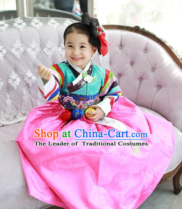 Traditional Korean National Handmade Court Embroidered Costume Green Blouse and Pink Dress, Asian Korean Hanbok Clothing for Kids