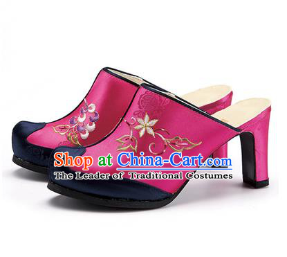 Traditional Korean National Wedding Rosy Embroidered Shoes, Asian Korean Hanbok Bride High-heeled Shoes for Women