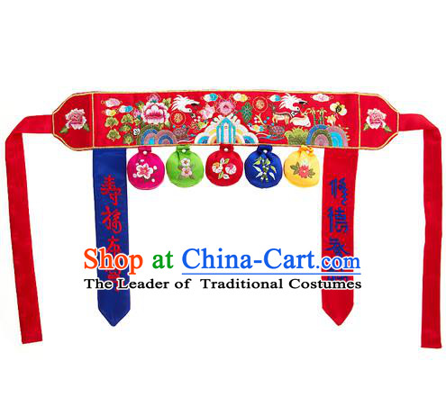 Traditional Korean Accessories Embroidered Red Belts, Asian Korean Fashion National Waistband for Kids