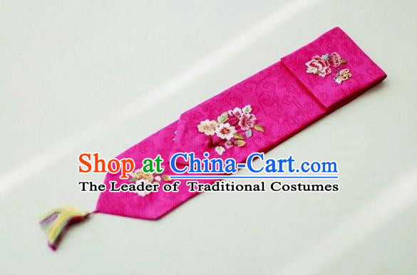 Traditional Korean Hair Accessories Embroidered Flowers Purple Hair Ribbon, Asian Korean Fashion Wedding Headband for Kids