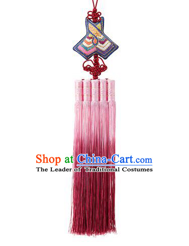 Traditional Korean Accessories Embroidered Waist Pendant, Asian Korean Fashion Wedding Pink Tassel Waist Decorations for Women