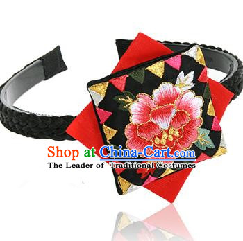 Traditional Korean Hair Accessories Embroidered Hair Clasp, Asian Korean Fashion Wedding Black Headband for Kids