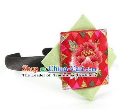 Traditional Korean Hair Accessories Embroidered Hair Clasp, Asian Korean Fashion Wedding Red Headband for Kids