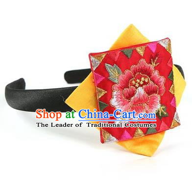 Traditional Korean Hair Accessories Embroidered Hair Clasp, Asian Korean Fashion Wedding Yellow Headband for Kids