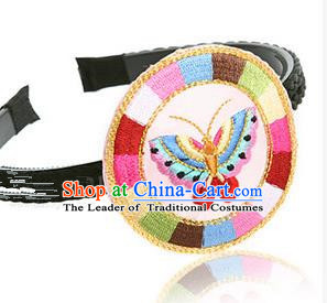 Traditional Korean Hair Accessories Embroidered Butterfly Hair Clasp, Asian Korean Fashion Wedding Headband for Kids