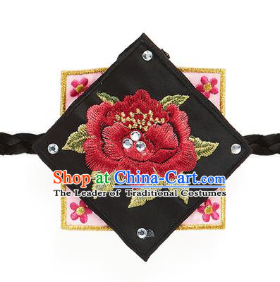 Traditional Korean Hair Accessories Embroidered Black Hair Clasp, Asian Korean Fashion Wedding Headband for Kids