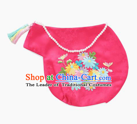 Traditional Korean Hair Accessories Embroidered Hat, Asian Korean Fashion Baby Princess Pink Hats for Kids