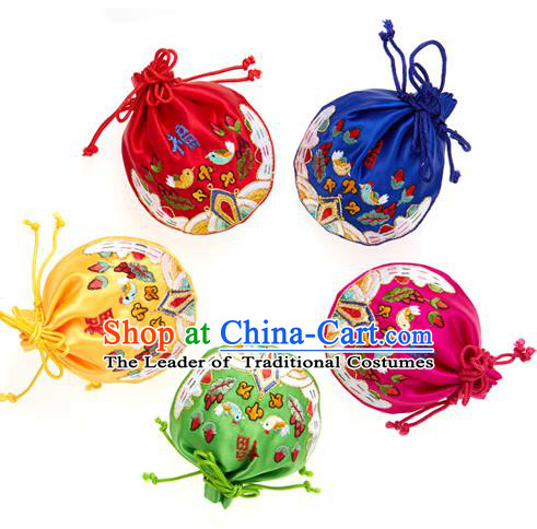 Traditional Korean Accessories Embroidered Lucky Bag, Asian Korean Fashion Wedding Fukubukuro Decorations for Kids