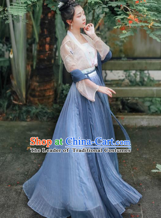 Asian China Tang Dynasty Palace Lady Costume Complete Set, Traditional Ancient Chinese Imperial Concubine Hanfu Embroidered Clothing for Women