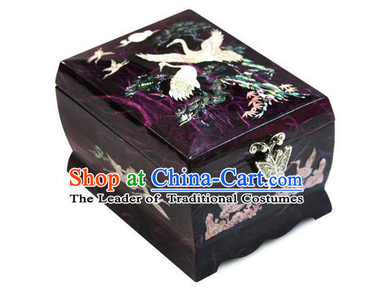 Traditional Korean Craft Hand Embroidery Cosmetic Container Purple Shell Dowry Box, Asian Korean Wedding Jewellery Case for Women
