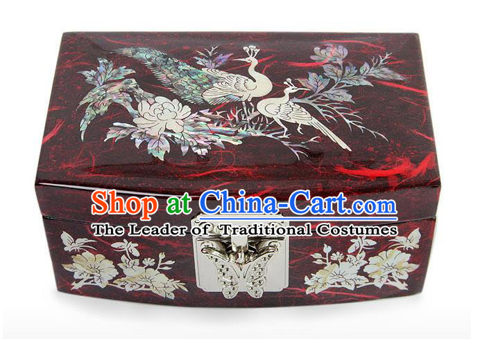 Traditional Korean Craft Hand Embroidery Cosmetic Container Red Shell Dowry Box, Asian Korean Wedding Jewellery Case for Women