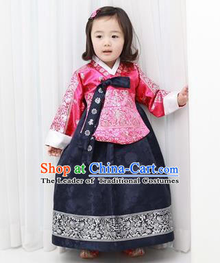 Traditional Korean National Handmade Court Embroidered Princess Costume, Asian Korean Girls Hanbok Clothing for Kids