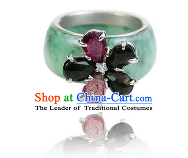 Traditional Korean Accessories Asian Korean Fashion Wedding Jadeite Rings for Women