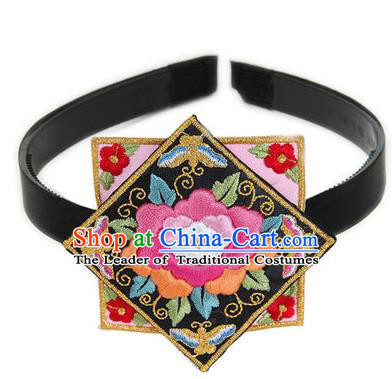 Traditional Korean Hair Accessories Square Embroidered Flowers Hair Clasp, Asian Korean Fashion Headwear Headband for Kids