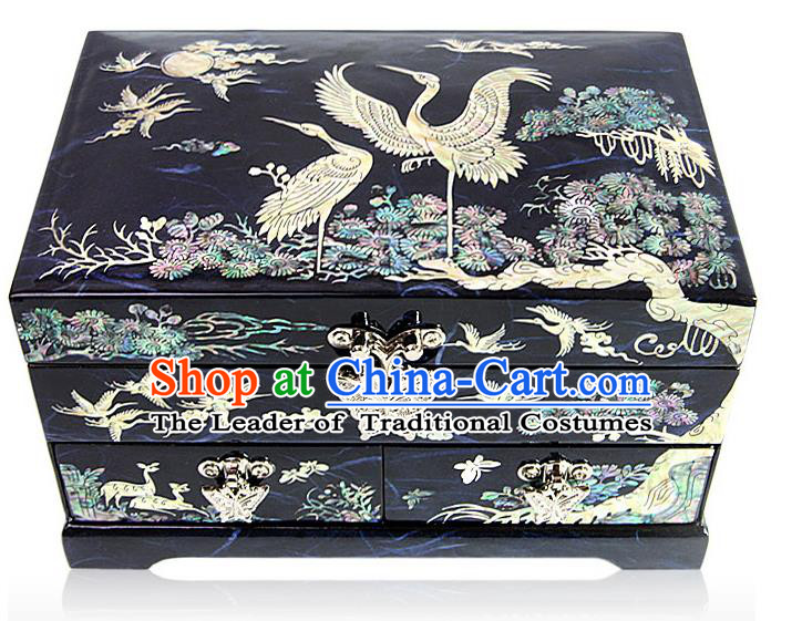Traditional Korean Craft Handmade Blue Shell Cosmetic Container, Asian Korean Wedding Jewellery Box for Women