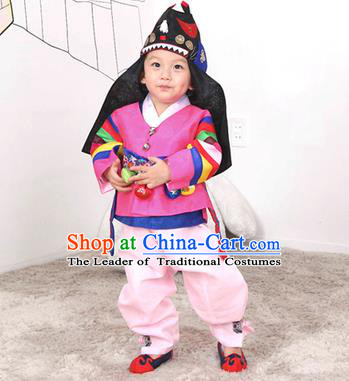Traditional Korean Handmade Hanbok Embroidered Pink Costume, Asian Korean Apparel Hanbok Embroidery Clothing for Boys