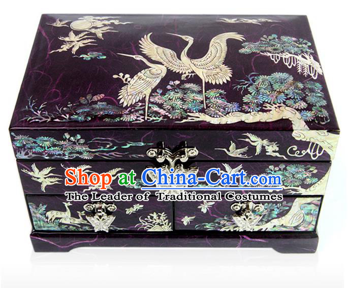 Traditional Korean Craft Handmade Purple Shell Cosmetic Container, Asian Korean Wedding Jewellery Box for Women