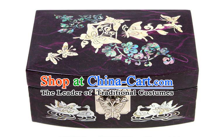 Traditional Korean Craft Handmade Printing Crane Purple Shell Cosmetic Container, Asian Korean Wedding Jewellery Box for Women