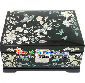 Traditional Korean Craft Handmade Printing Butterfly Shell Cosmetic Container, Asian Korean Wedding Jewellery Box for Women