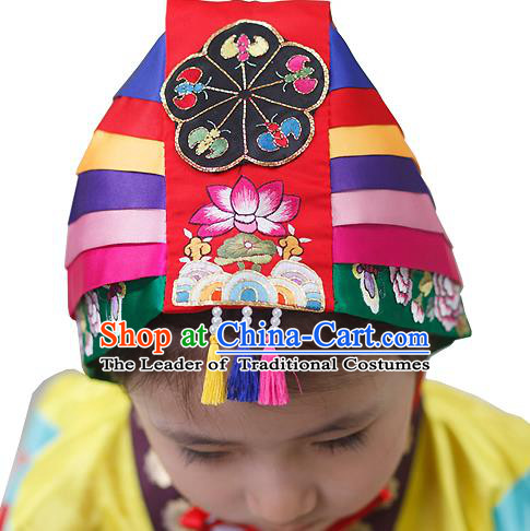 Traditional Korean Hair Accessories Bride Red Embroidered Hats, Asian Korean Fashion Wedding Headwear for Kids