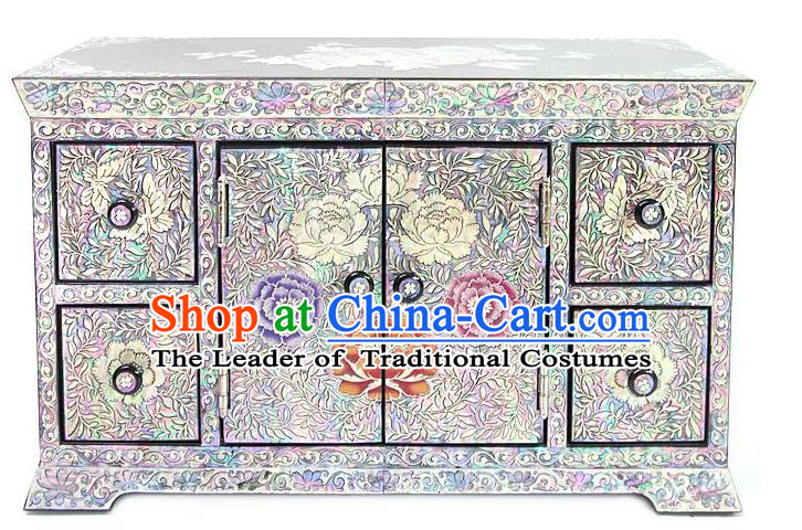 Traditional Korean Craft Handmade Shell Cosmetic Container, Asian Korean Wedding Jewellery Box for Women