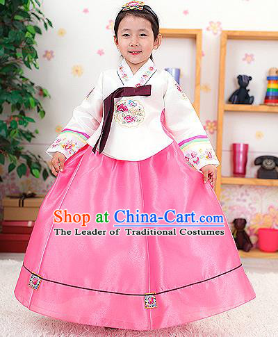 Traditional Korean Handmade Formal Occasions Embroidered Girls Costume, Asian Korean Apparel Bride Hanbok Clothing for Kids